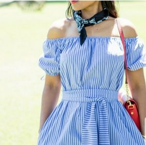 *NEW* Zara blue white sash tie striped midi dress